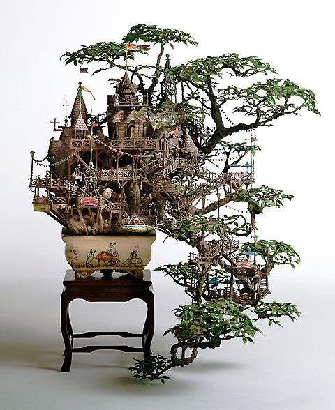 Takanori Aiba's Bonsai Tree House Sculpture