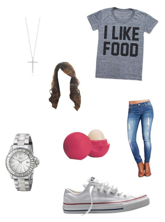 """Chill Day"" by ghettogirl19 ❤ liked on Polyvore featuring Wet Seal, Converse, Invicta, Roberto Coin and Eos"