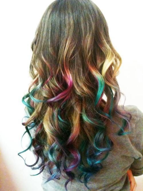"I did this with kool-aid, It is fun and lasts about 2 1/2 months, but depends on your hair color. To learn how to dye your hair with kool-aid look up ""dip dyeing hair with kool-aid"" heat up water in a pot with kool-aid  then put in a cup and dip hair in! easy!: Hair Ideas, Rainbow Hair, Haircolor, Hair Beauty, Hairstyle, Hair Style, Hair Chalk, Hair Color, Dip Dye"