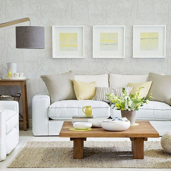White and pale yellow living room grey purple living for Yellow living room wallpaper