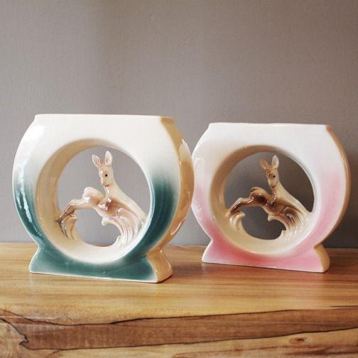 1950s ceramic leaping deer vases. love the shape