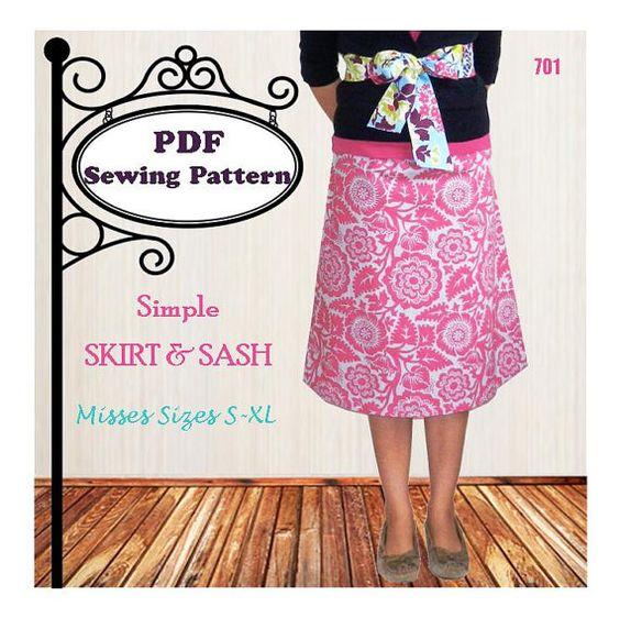Simple Skirt & Sash  PDF Sewing Pattern  by MaggieElizDesigns