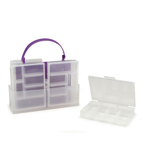 Four-Part Storage Container w/Handle, 7-1/4 x 5 x 2-3/8 inches