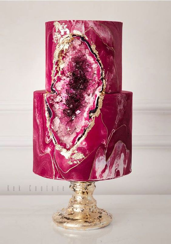 Bold and beautiful magenta geode cake.: