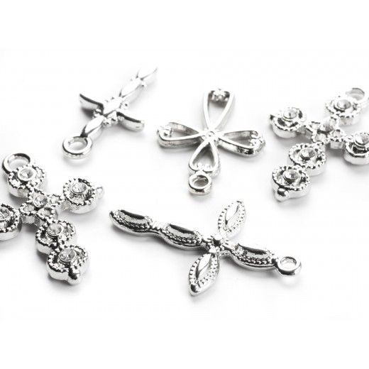 8pc  Silver Mixed Cross Charms- 22mm-29mm
