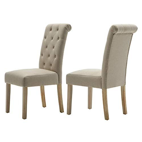 Lssbought Button Tufted Classic Accent Dining Chairs With Solid Wood Legs Set Of 2 Ta Dining Chairs Parsons Dining Chairs