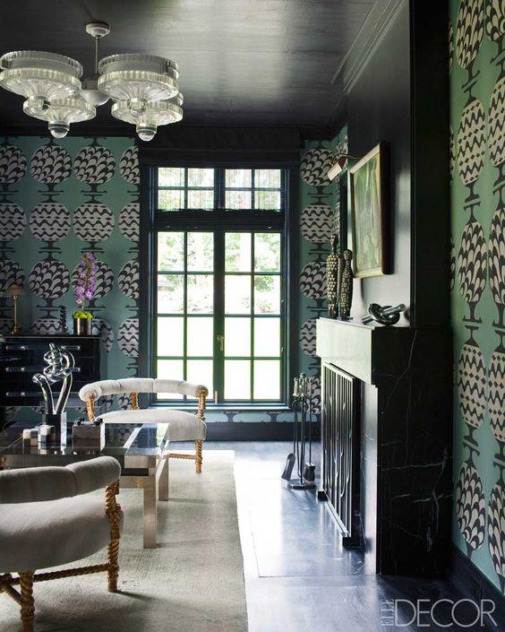 like large scale wallpaper and feel of room. Kelly Wearstler Design - Midcentury Modern Interiors via Elle Decor.