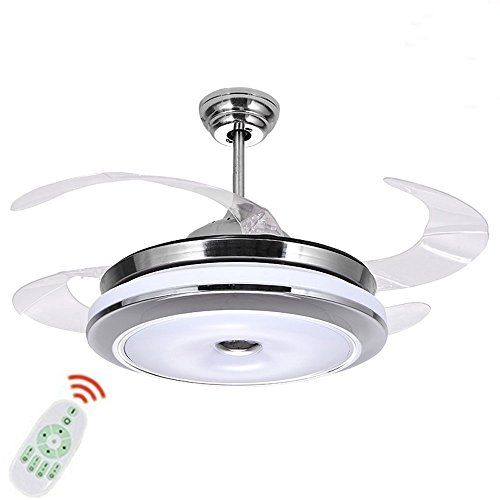 ceiling fan lamp remote control pendant light three color dimming modern 4 leaf with reversible blade changing out a