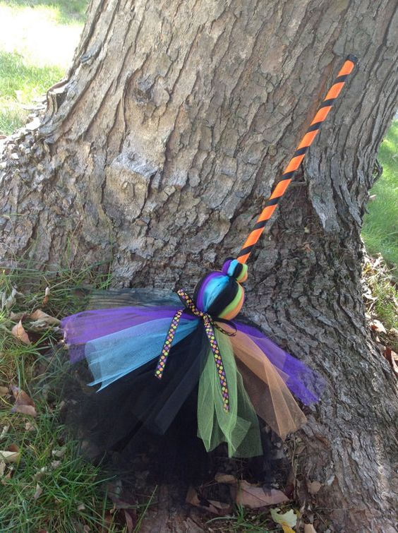 Tulle Witch Broom by NeverlandDesignsShop on Etsy- Inspiration for Witches Night Out Brooms?