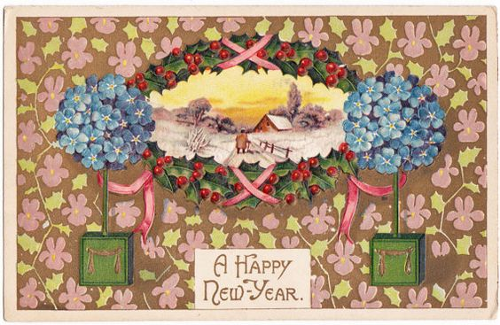 Vintage New Years Postcard from 1909  Beautiful by thecedarchest