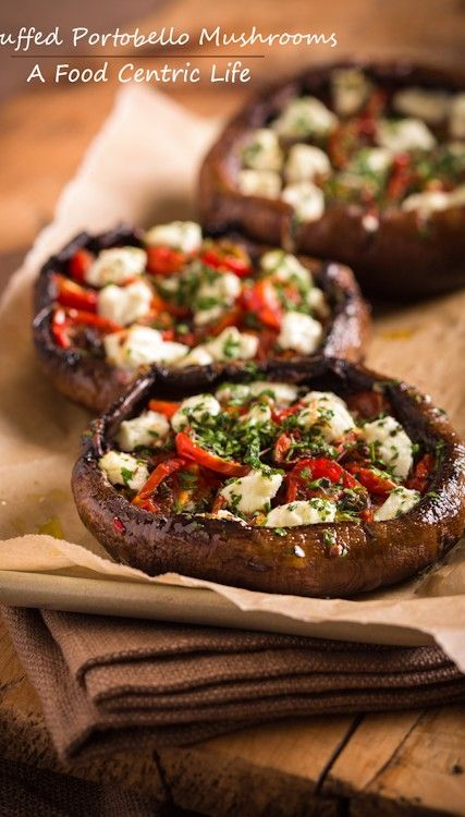 Stuffed Portobello Mushrooms With Roast Tomatoes and Goat Cheese