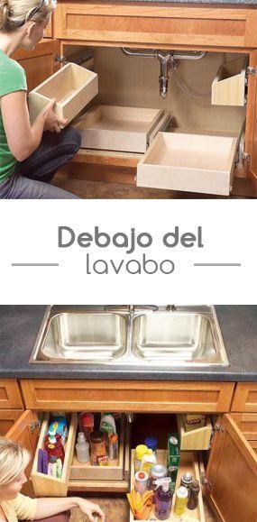 Crea una peque a bodega debajo de tu lavabo y organiza - Crea tu cocina online ...