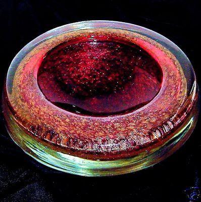 MURANO Spectacular BOWL Rare SCULPTURAL Art Glass MASTERPIECE Gold BRONZE Modern