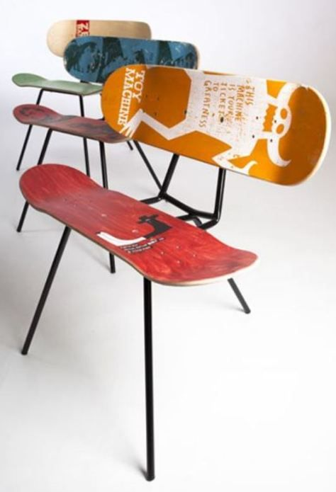 20 Great Ideas To Breathe New Life To Upcycle Skateboards Homelysmart Recycled Furniture Skateboard Furniture Diy Furniture