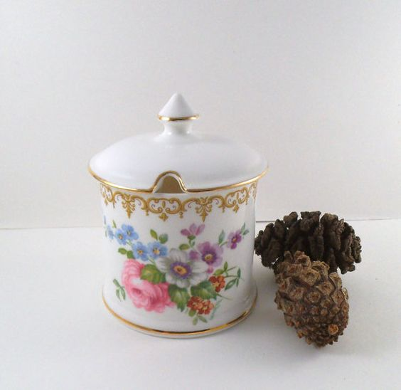 Pretty Bone China Preserve Pot by Crown Staffordshire. English Jam or Honey Pot with Country Flower Decoration