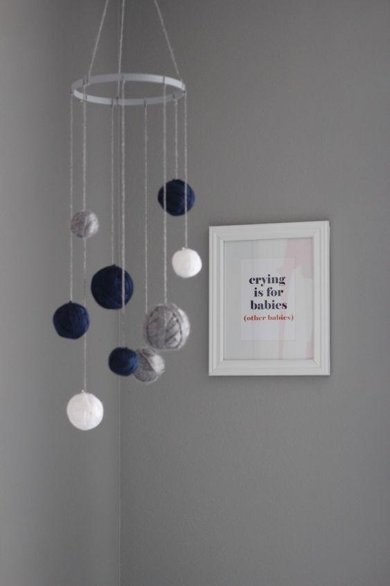 DIY Mobile with Yarn Wrapped Around Styrofoam Balls