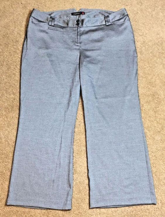 Lane Bryant Womens Size 6 Pants Gray Dress Striped Houston Career Work Business #LaneBryant #DressPants