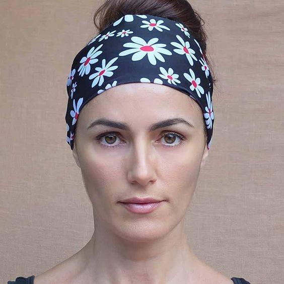 "New! White Daisy Red Center ""Margarita"" Non Slip Boho Wide Workout Headband"