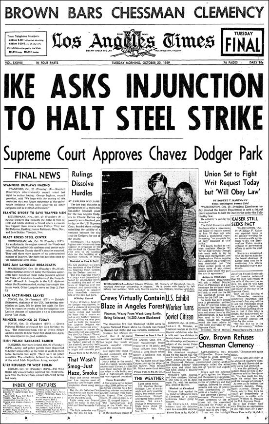 July 15, 1959:  Half a million steelworkers go on strike over proposed work rule changes which would have resulted in reduced hours and layoffs.  The strike affected nearly every steel mill in the country.   The strike ended after the federal government ordered a back-to-work injunction under the provisions of the Taft-Hartley Act, which the Supreme Court upheld.