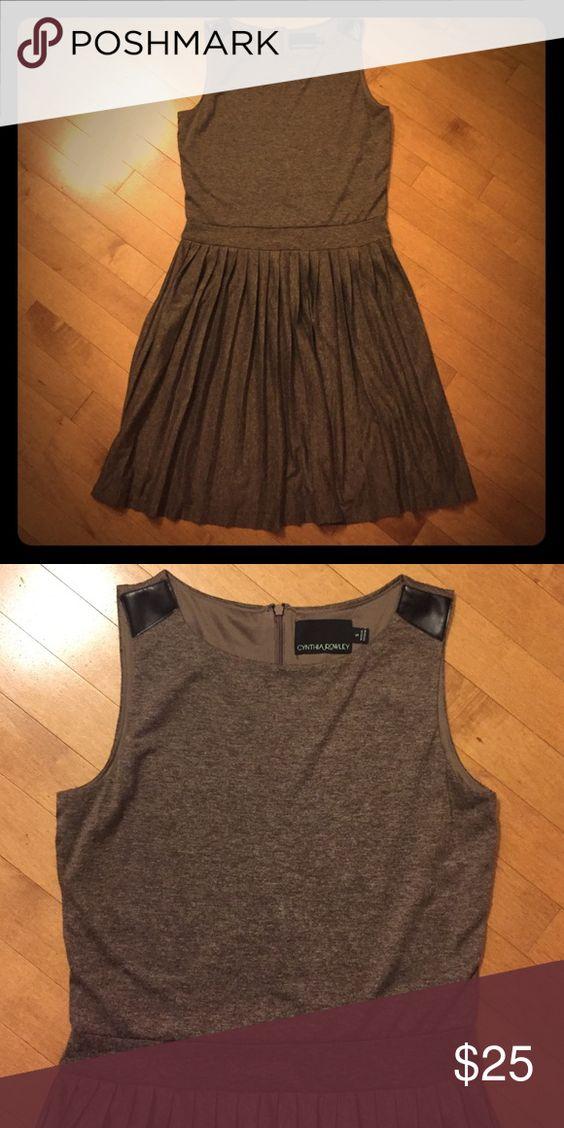 Cynthia Rowley Dress Size: S; brown; faux leather detail on straps; pleated skirt Cynthia Rowley Dresses Midi