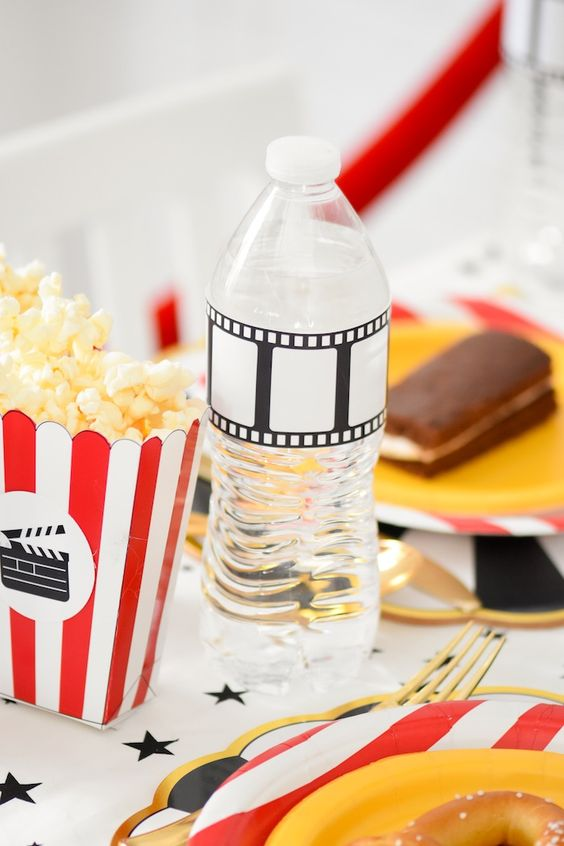 Free printable water bottle drink wrapper!  Movie Night Party with FREE Printables! | Kara's Party Ideas