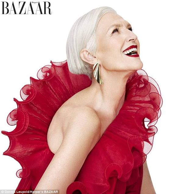 Stunning: Maye Musk, 69, modeled a red cocktail dress by Stella McCartney in her latest shoot featured in the May issue of Harper's Bazaar