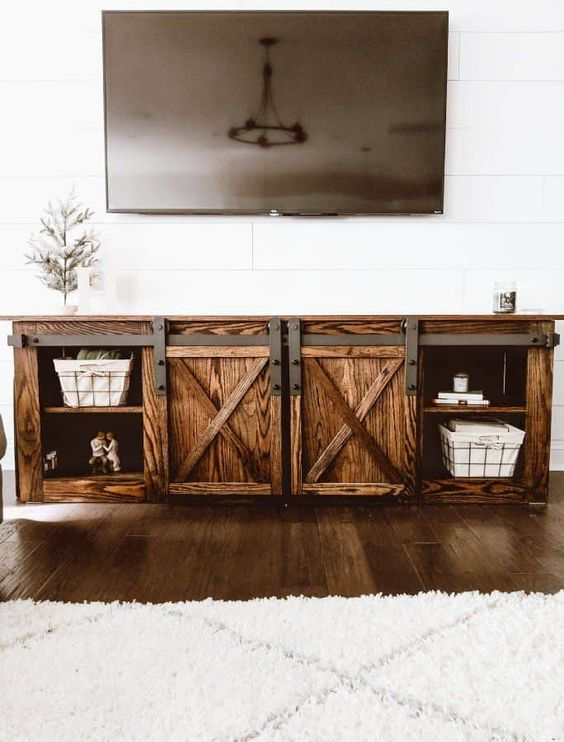 DIY Farmhouse TV Console with Sliding Barn Doors - Crafted by the Hunts