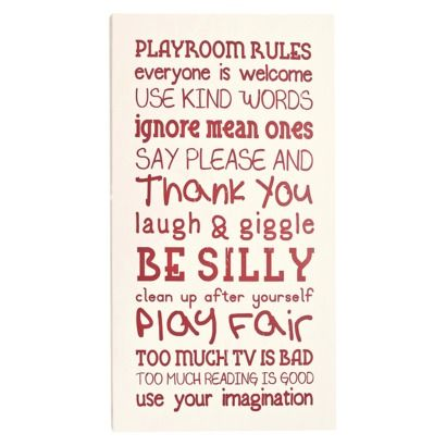 Love this for kids of all ages! #Playroom Rules Wooden Wall Board #kids
