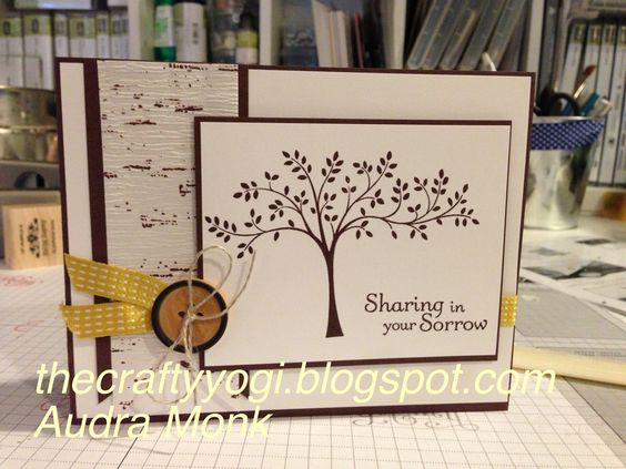 Thecraftyyogi.blogsopt.com, Stampin' Up! Sympathy card. Bark paper from thankful tablescape kit.