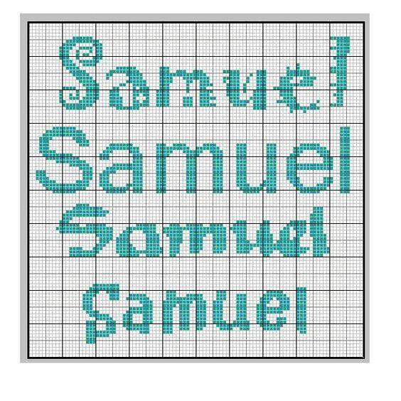 Cross stitch samuel 39 s name samuel punto croce cross for Immagini disney punto croce