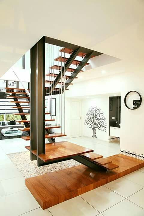 Light Wood Steel Home Stairs Design Stair Design Architecture Stairs Design House plan with interior staircase