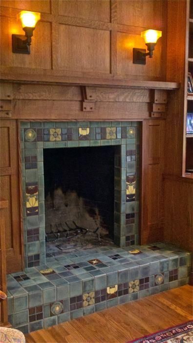 Understated drama craftsman paneling fireplace mantel for Craftsman fireplaces photos