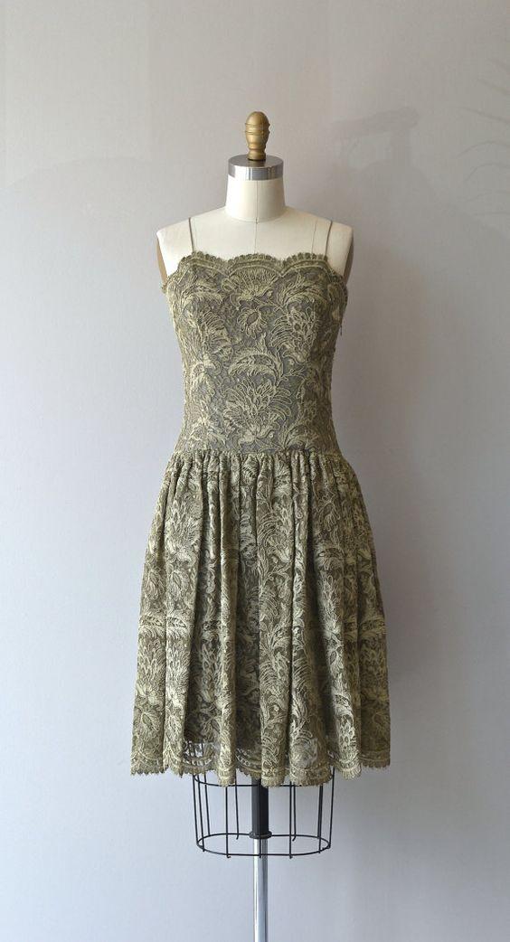 BurkeAmey dress vintage 1960s lace dress sage lace by DearGolden