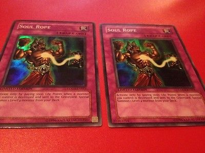 Yu-Gi-Oh-2x-Soul-Rope-LODT-ENSE2-Super-Rare-Limited-Edition-Moderately