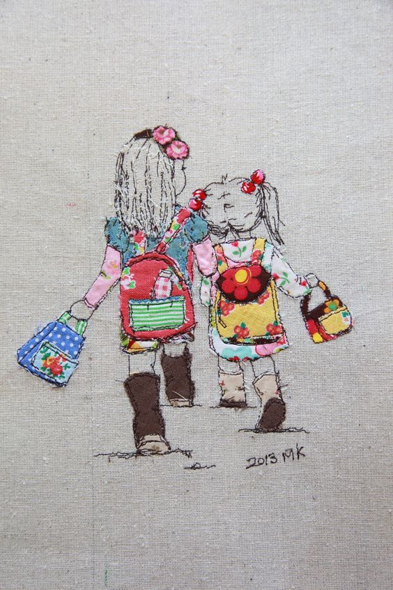 I drew my girls using 8 years old brother sewing machine.