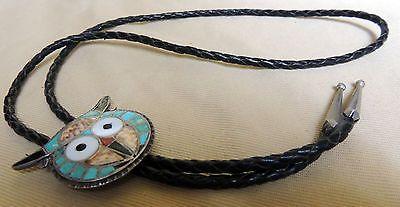 Zuni Theodore Edaakie Owl Bolo Dot & Mosaic Inlay TED EDAAKIE Rare 1957-1967
