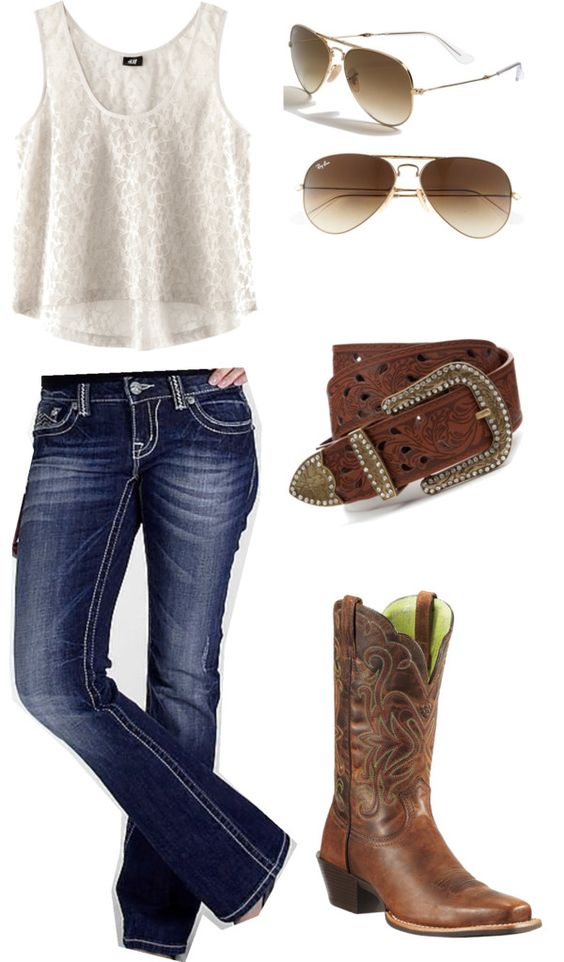 U0026quot;Ariatsu0026quot; By Baileydelozier On Polyvore | Outfits | Pinterest | Country Outfits Boots And Belt