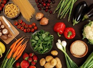 a collection of healthy foods
