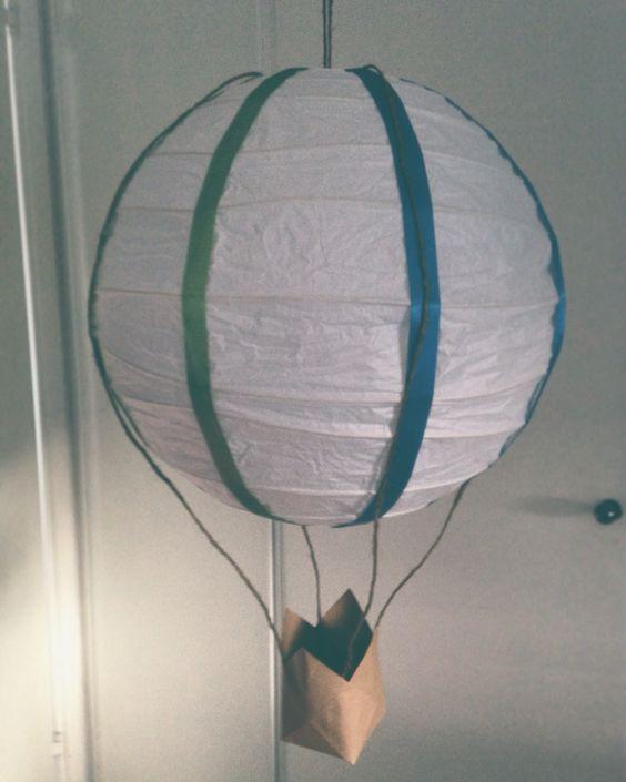 DIY hot air balloon, paper lantern Luftballong, lampa till barnrum ... : barnrum diy : Barnrum