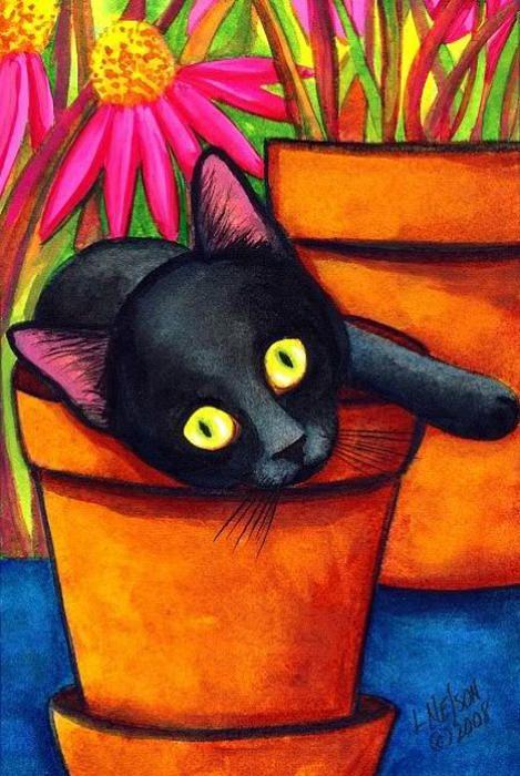 L M Nelson. Potted Black Kitten