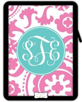 Monogrammed iPad/Kindle Sleeve by Lipstick Shades - Suzanni ($46.00)