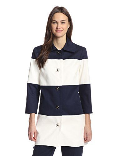 Hutch  Button-front canvas coat with a broad stripe pattern, oversize collar, on-seam pockets and bracelet sleeves
