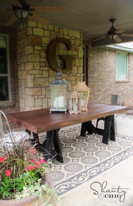 Diy table pottery barn inspired initials giant for Diy barn table
