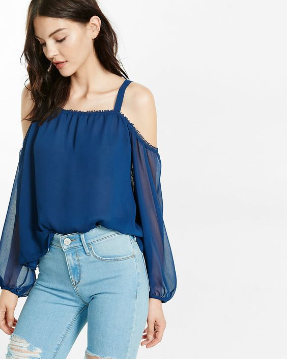Express blue chiffon cold shoulder blouse