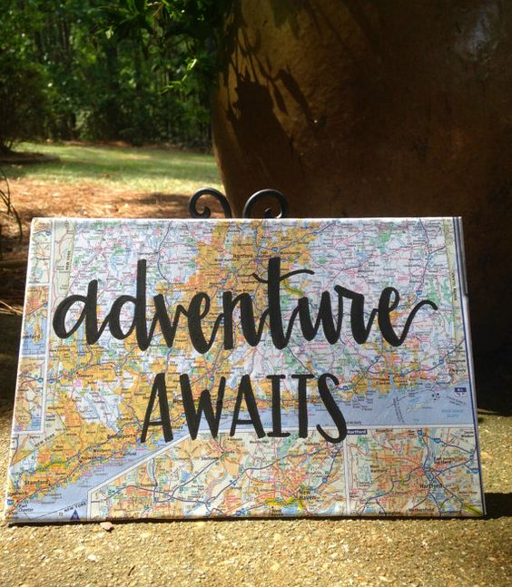 Adventure Awaits Map Wood Sign Adventure Awaits Signs