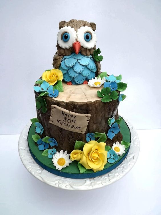 Owl On A Tree Stump Cake - Cake by Storyteller Cakes: