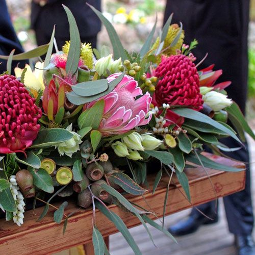 Wedding Altar Flowers With Eucalyptus: Australian Native Wedding Flowers Red And Pink Ceremony