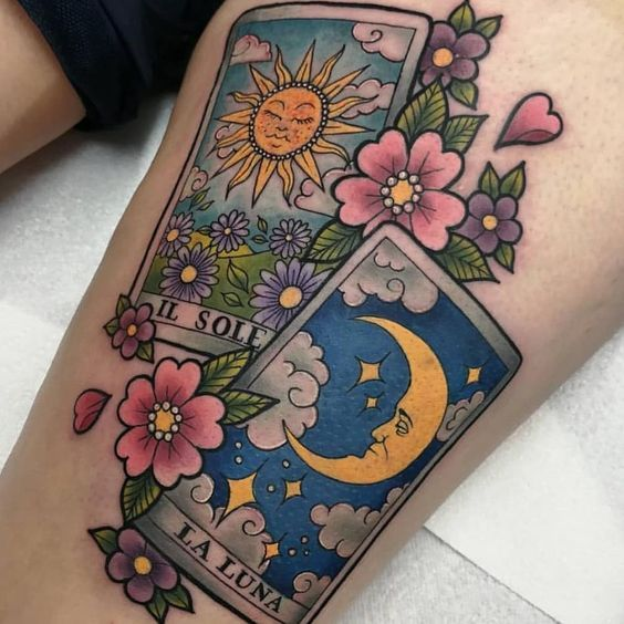 The Sun The Moon Tarot Tattoo Tarot Tattoo Tattoos Tattoo Designs