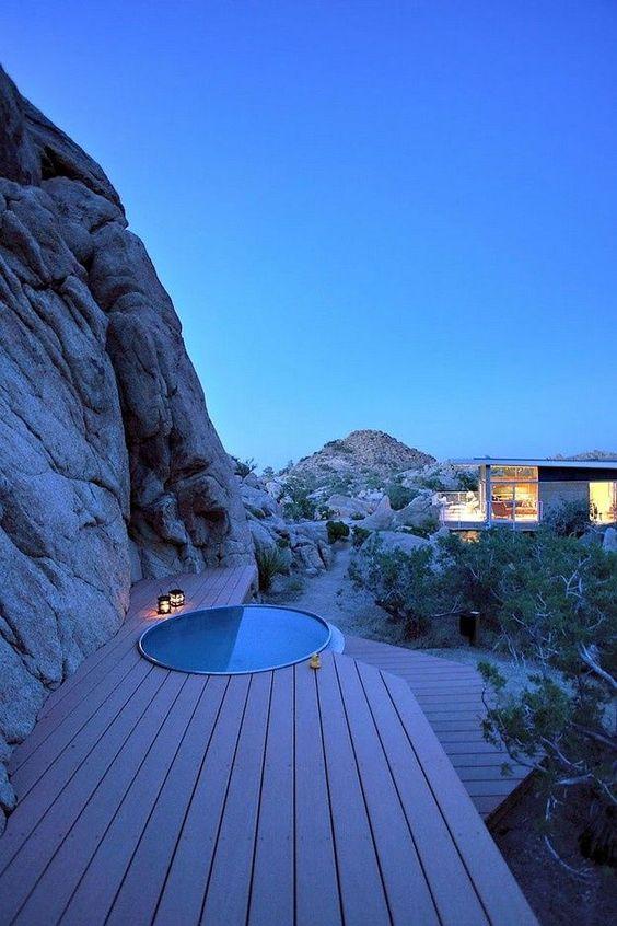 Whirlpool outdoor rund  whirlpool rund einbauen terrasse holzdielen | Schwimmteiche ...