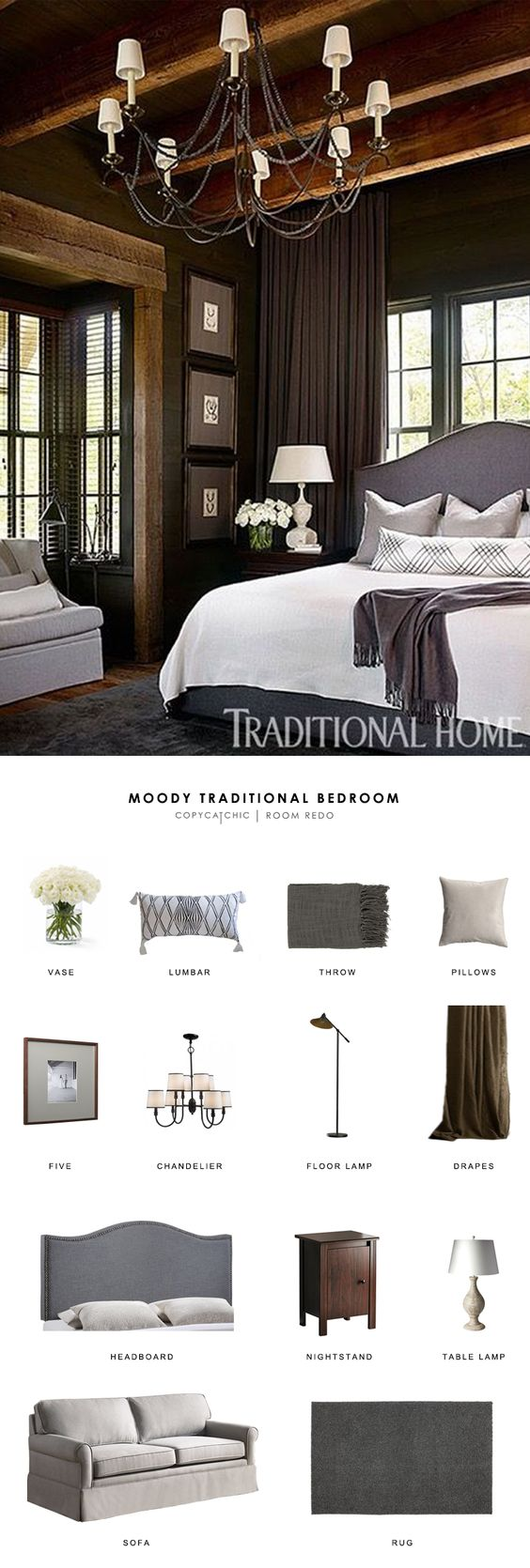 A black moody master bedroom featuring in Traditional Home